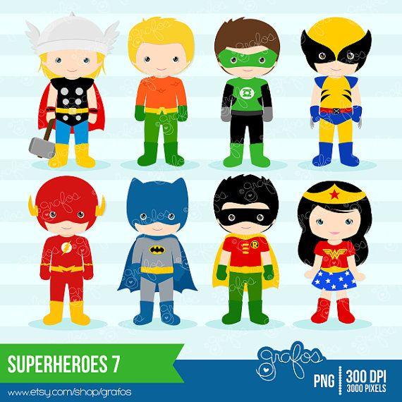 Marvel superhero clipart png vector transparent library SUPERHEROES 7 Digital Clipart , Superheroes Clipart / Instant ... vector transparent library