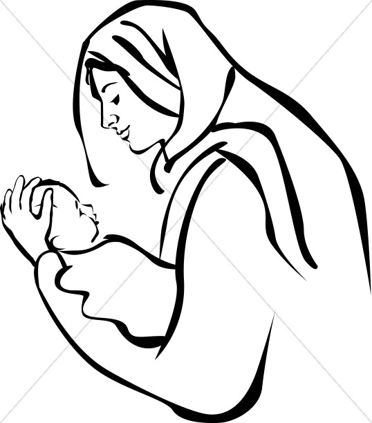Mary and baby jesus clipart picture black and white stock Mary holding baby Jesus | Epiphany Clipart picture black and white stock