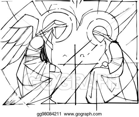 Mary and gabriel clipart clip royalty free stock Vector Clipart - Virgin mary and gabriel archangel at the ... clip royalty free stock