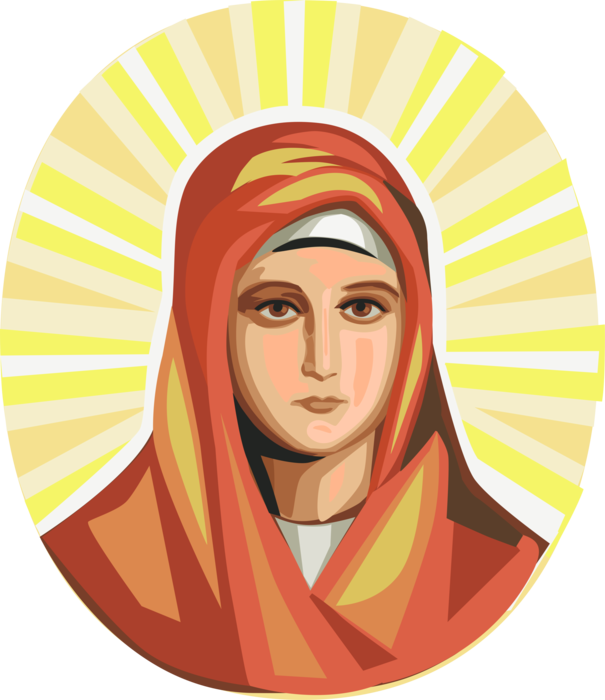 Mary and jesus playing clipart graphic freeuse Virgin Mary, Mother of Jesus - Vector Image graphic freeuse