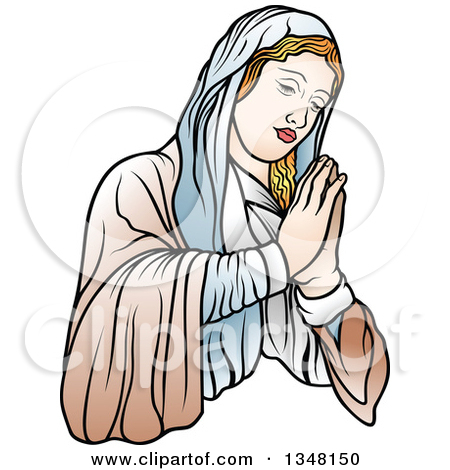 Mary and jesus praying clipart jpg library Clipart of a Black and White Virgin Mary Holding Baby Jesus and a ... jpg library
