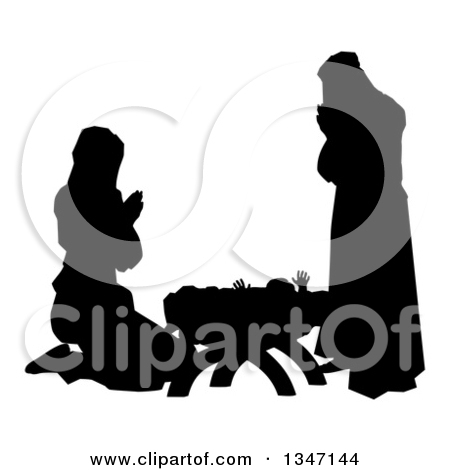 Mary and jesus praying clipart picture freeuse library Clipart of Mary and Joseph Praying over Baby Jesus Under the Star ... picture freeuse library
