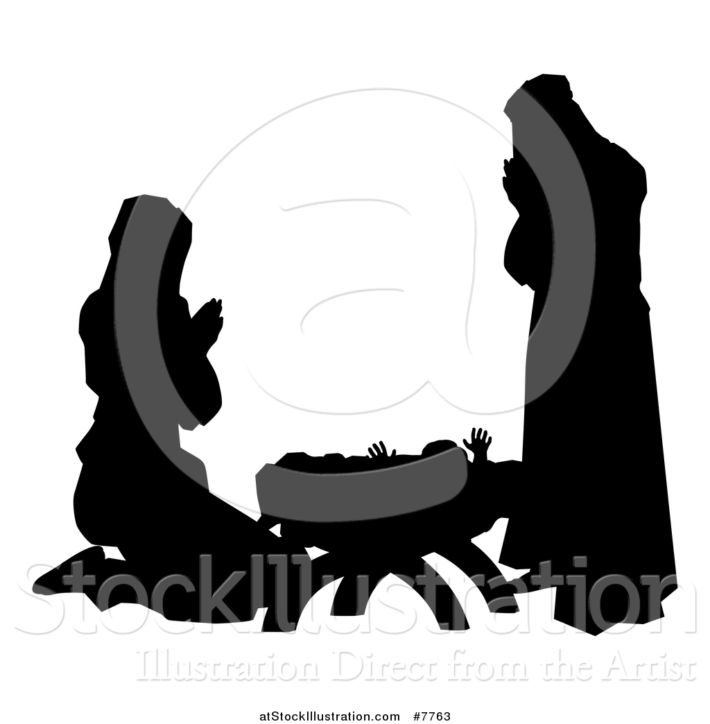 Mary and jesus praying clipart graphic library library Vector Illustration of a Black and White Silhouetted Mary and ... graphic library library