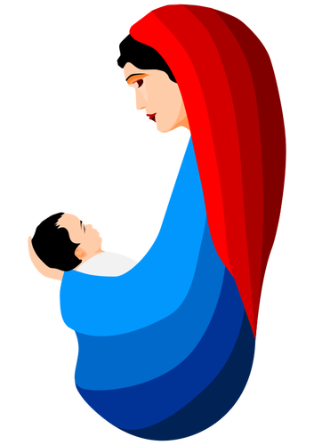 Mary and jesus public domain clipart vector black and white download Virgin Mary and the infant Jesus | Public domain vectors vector black and white download