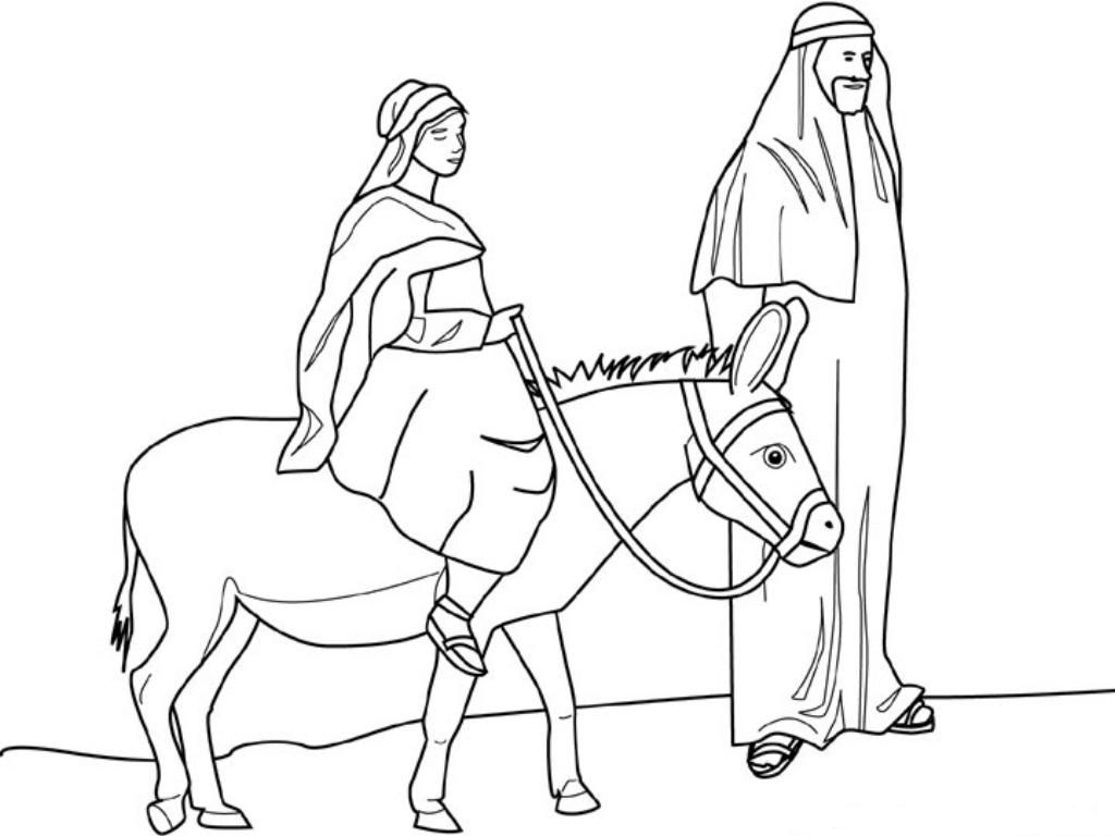 Mary and joseph riding on donkey clipart free jpg royalty free stock Coloring Sheet for the image of pregnant Mary and Joseph on a donkey ... jpg royalty free stock