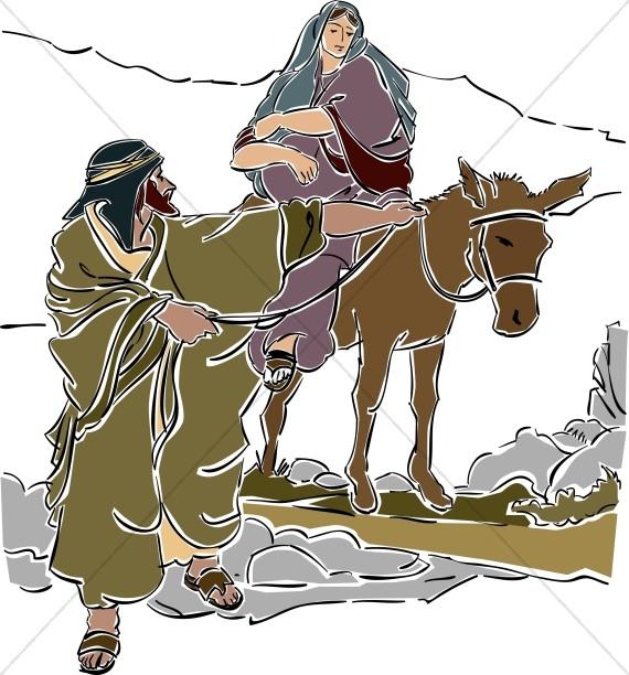 Mary and joseph riding on donkey clipart free svg transparent library Mary Rides A Donkey | Nativity Clipart svg transparent library
