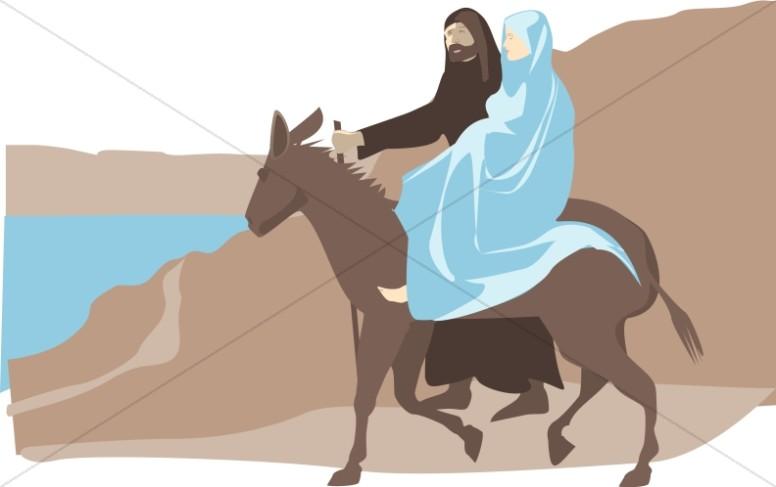 Mary and joseph riding on donkey clipart free clip art free stock Mary And Joseph To Bethlehem | Nativity Clipart clip art free stock