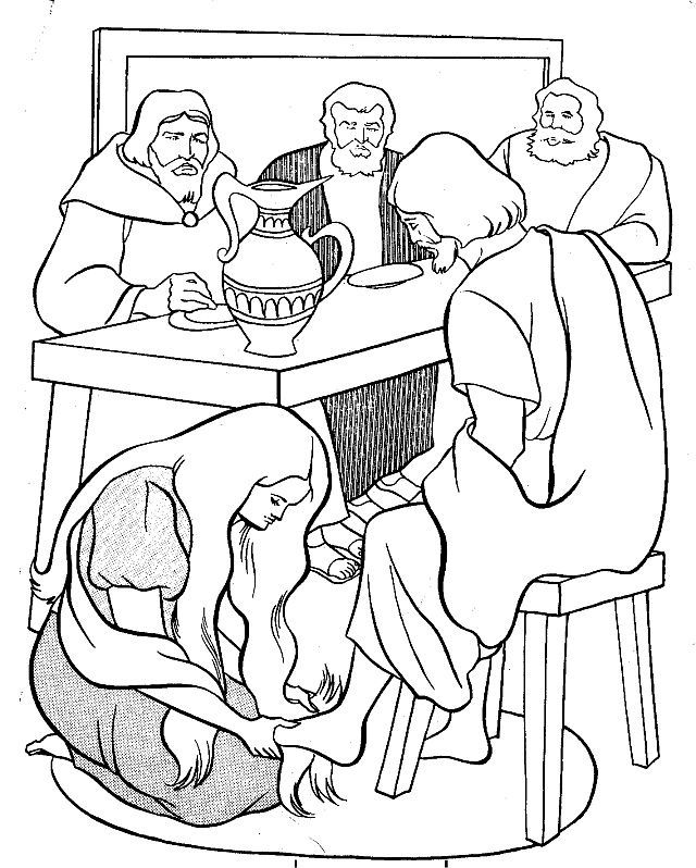 Mary annointing jesus feet clipart graphic black and white stock Mary Anoints Jesus Feet Coloring Page - AZ Coloring Pages graphic black and white stock