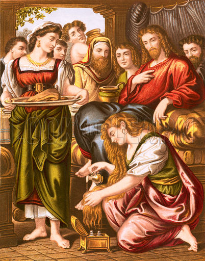 Mary annointing jesus feet clipart image royalty free Mary anointing the feet of Jesus - Look and Learn History Picture ... image royalty free