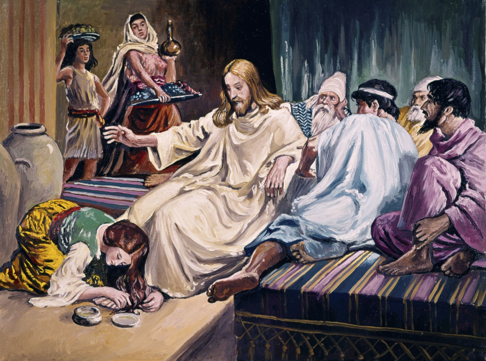 Mary annointing jesus feet clipart jpg Mary of Bethany Anoints Jesus - Bible Story Summary jpg