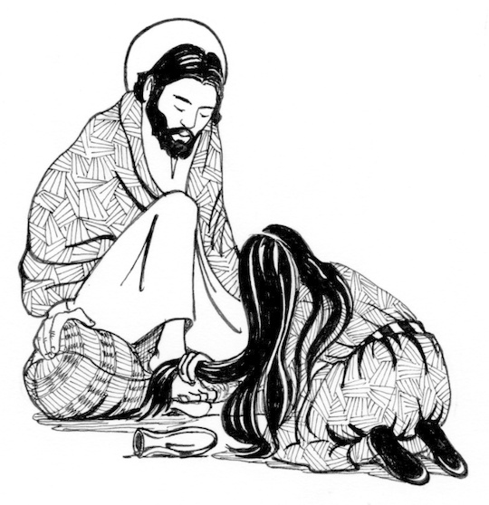 Mary anointing jesus feet clipart black & white clipart Anointing the Feet of Jesus | Saint Mary\'s Press clipart