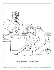 Mary anointing jesus feet clipart black & white jpg library stock Mary Anoints Jesus\' Feet Coloring Page | Children\'s Bible Coloring ... jpg library stock