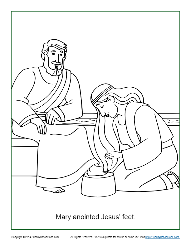 Mary anointing jesus feet clipart black & white jpg library library Download Free png Mary Anoints Jesus\' Feet Coloring Page - DLPNG.com jpg library library