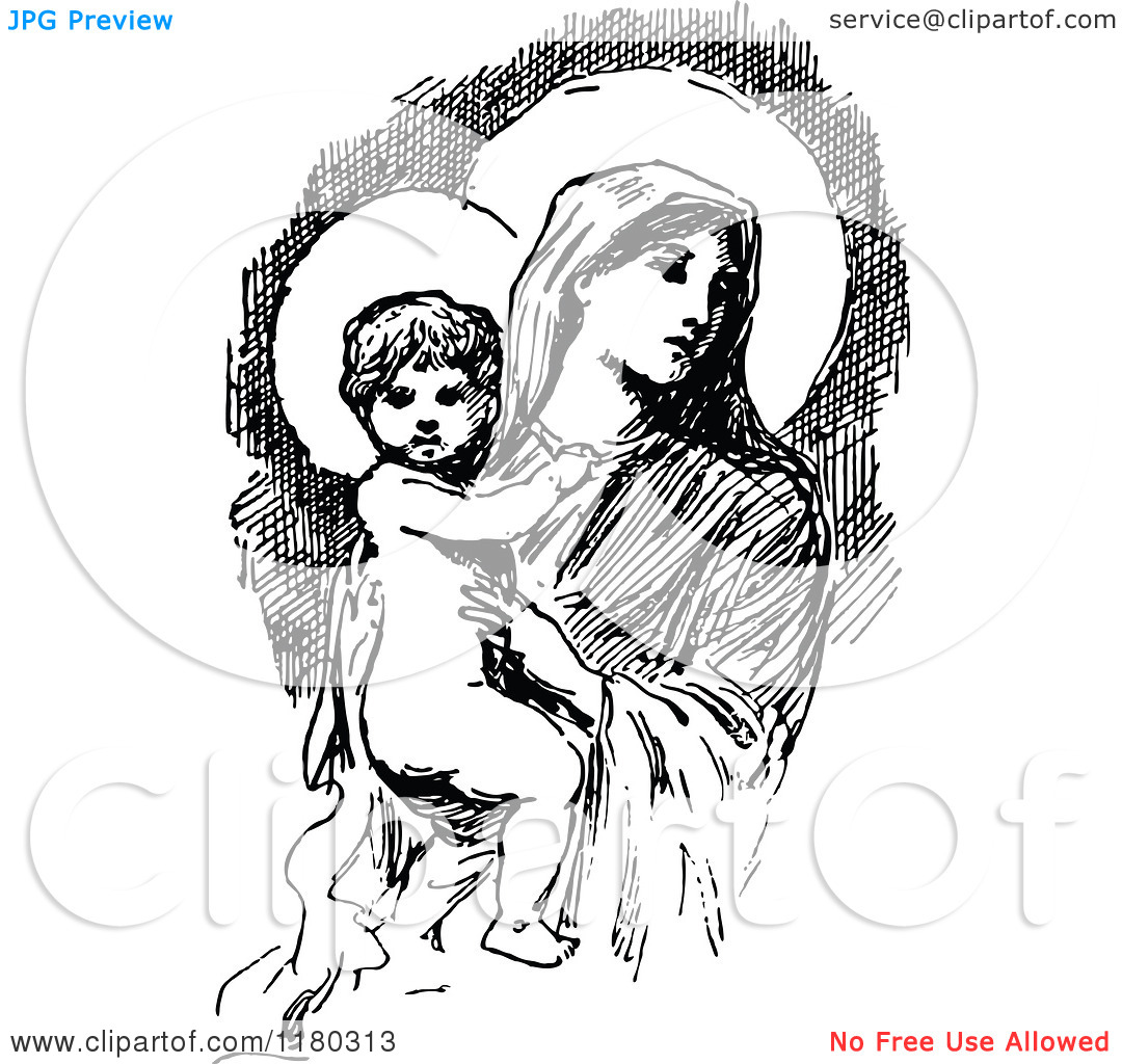 Mary baby jesus clipart clipart black and white library Clipart christmas borders mary baby jesus - ClipartFest clipart black and white library