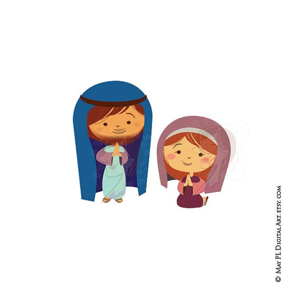Mary garden jesus clipart clip black and white stock Mary and Joseph Clipart, part of Baby Jesus Christ's Birth in a ... clip black and white stock