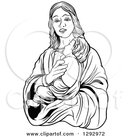 Mary holding baby jesus clipart banner freeuse stock Clipart of a Black and White Virgin Mary Holding Baby Jesus ... banner freeuse stock