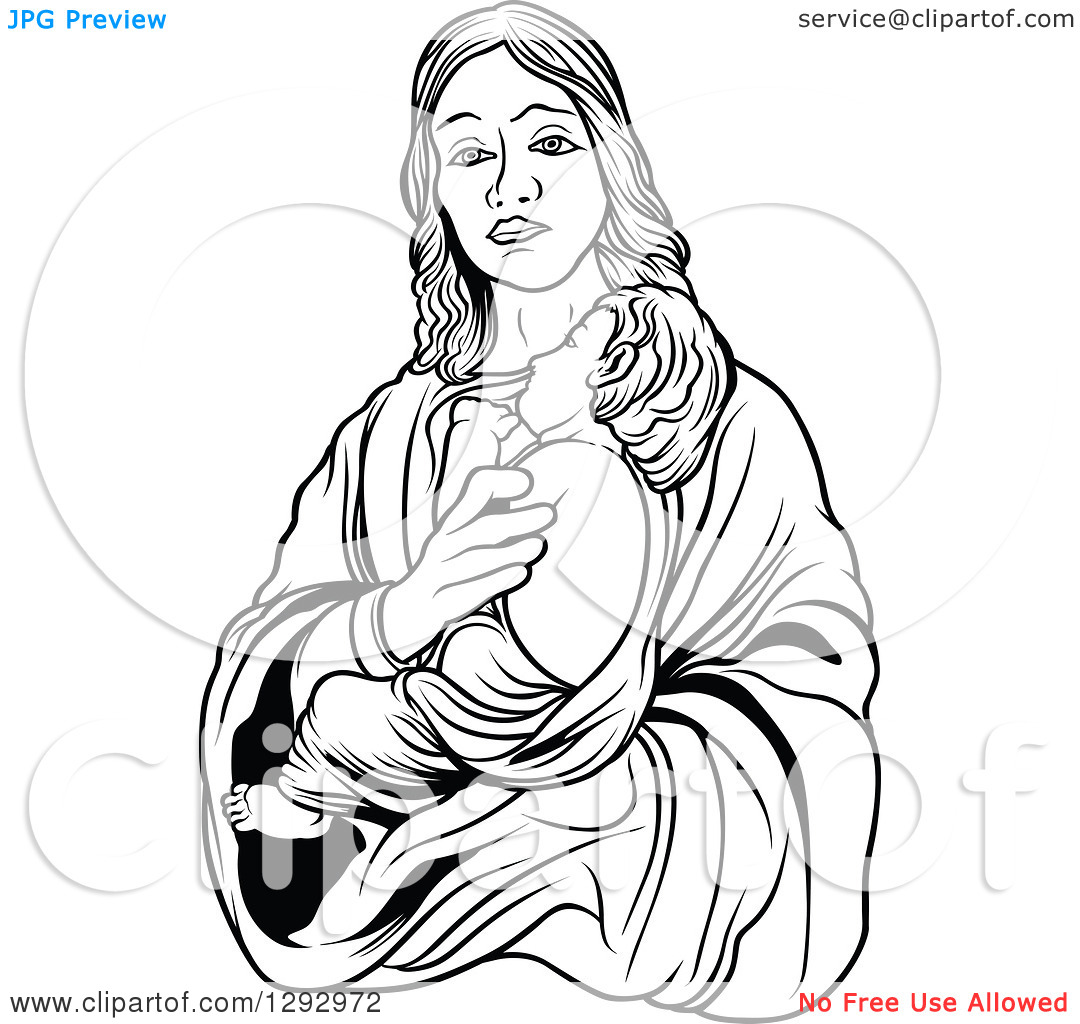Mary holding baby jesus clipart jpg royalty free download Clipart of a Black and White Virgin Mary Holding Baby Jesus ... jpg royalty free download