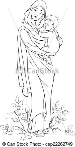 Mary holding baby jesus clipart clipart download EPS Vector of Virgin Mary hold baby Jesus outline - Outlined ... clipart download