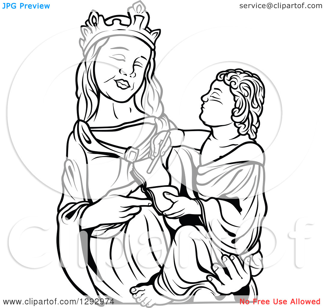 Mary holding baby jesus clipart svg transparent library Clipart of a Black and White Virgin Mary Holding Baby Jesus 2 ... svg transparent library