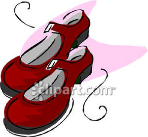 Mary jane clipart svg library download Girls Red Mary Jane Shoes - Royalty Free Clipart Picture svg library download
