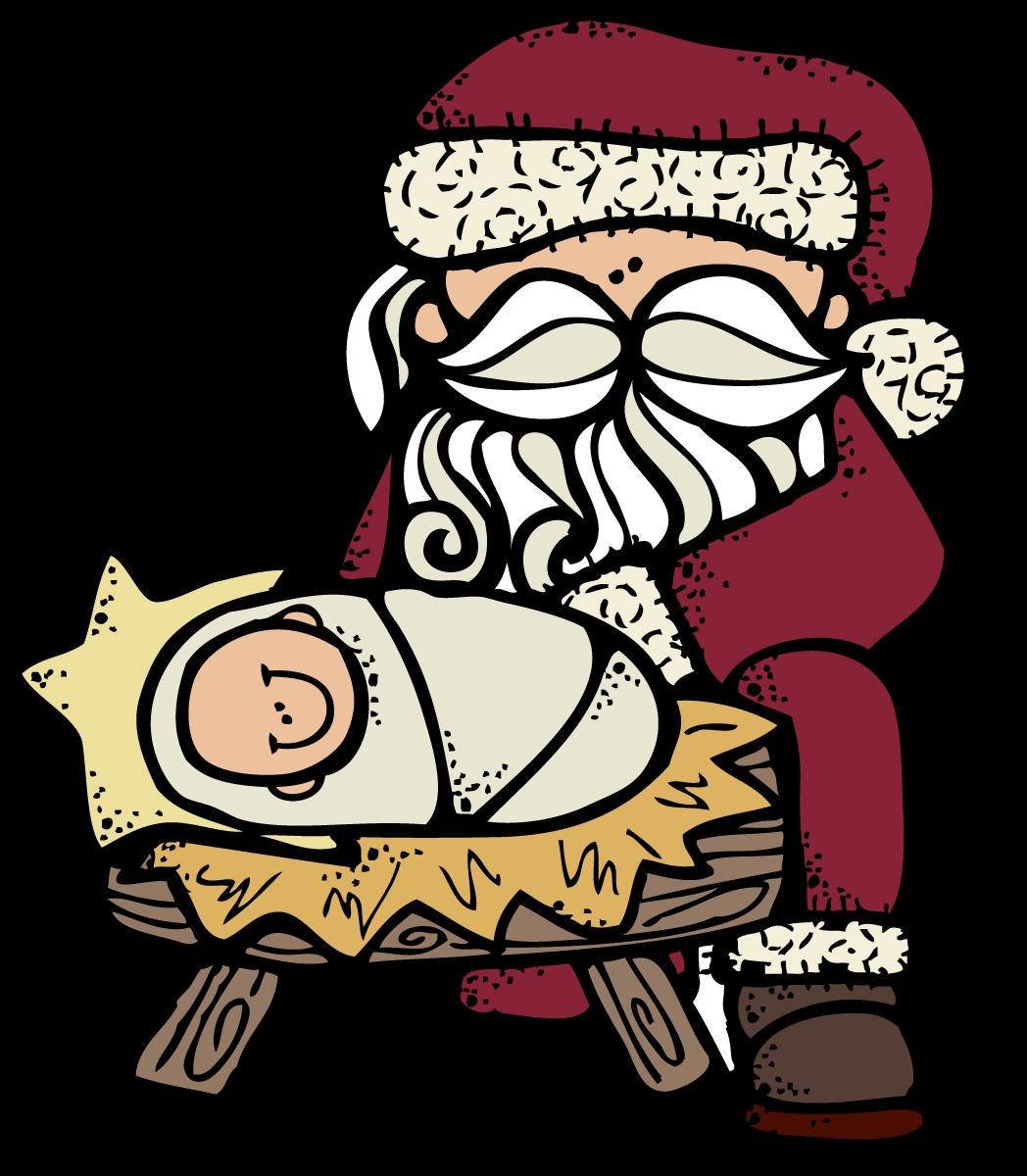 Mary joseph and jesus clipart jpg royalty free library MelonHeadz: Santa and Jesus :) jpg royalty free library
