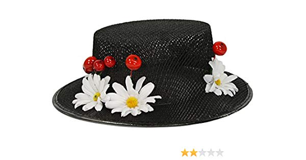 Mary poppins hat clipart vector black and white download Amazon.com: Largemouth Women\'s Mary Poppins Hat Cherries Daisies ... vector black and white download