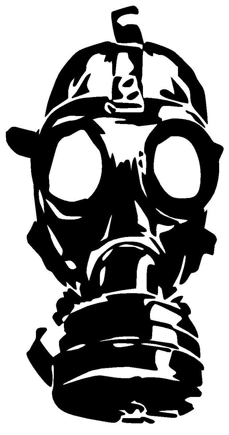 Mascara de gas clipart png black and white library $3.59 - Gas Mask Vinyl Decal Sticker Window Wall Car Bumper Laptop ... png black and white library