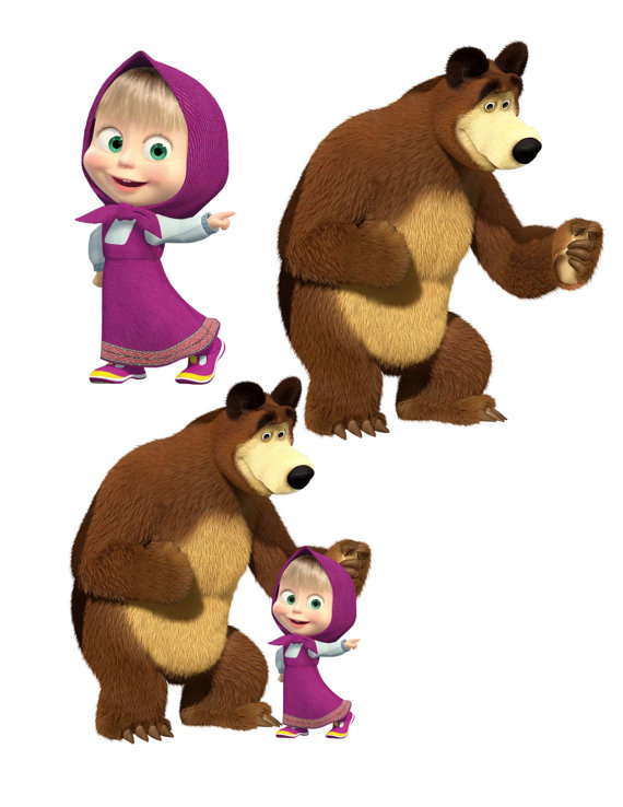Masha and the bear clipart graphic black and white Masha Image, Masha Cutout, Masha and the Bear Image, Masha and the ... graphic black and white