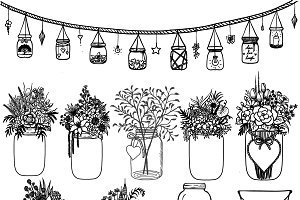 Mason jar and flowers clipart black and white black and white download Mason jar with flowers clipart black and white 1 » Clipart Portal black and white download
