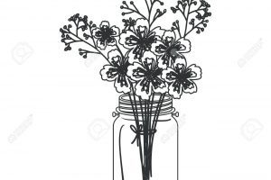 Mason jar and flowers clipart black and white graphic royalty free download Mason jar with flowers clipart black and white 7 » Clipart Portal graphic royalty free download