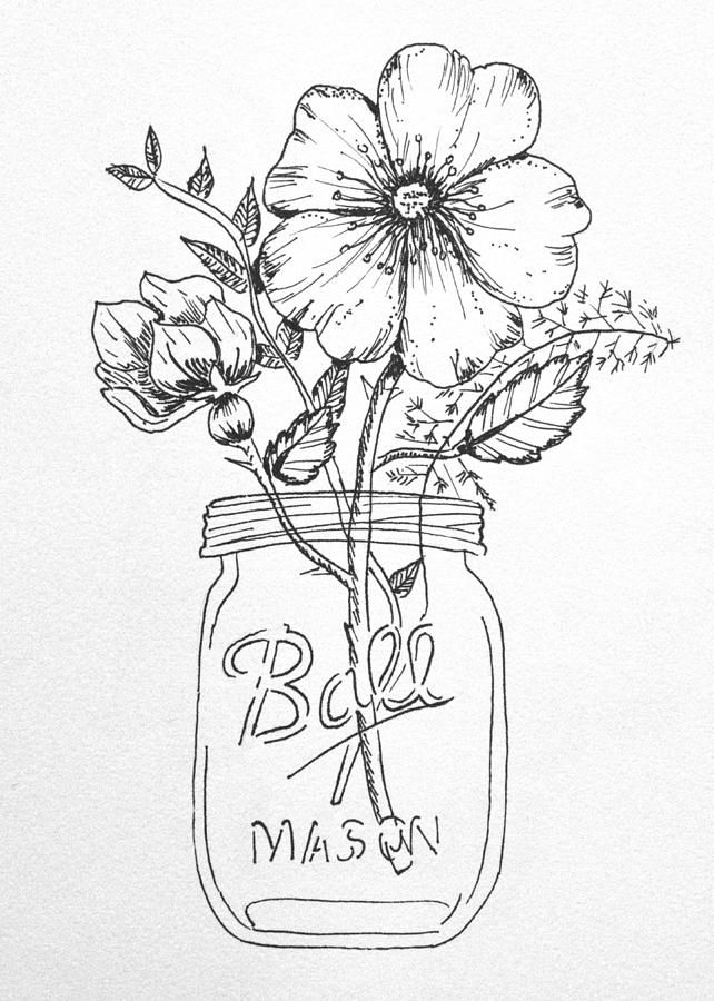 Mason jar and flowers clipart black and white clip free download flowers in a mason jar drawing - Google Search #tattooswomensdesigns ... clip free download