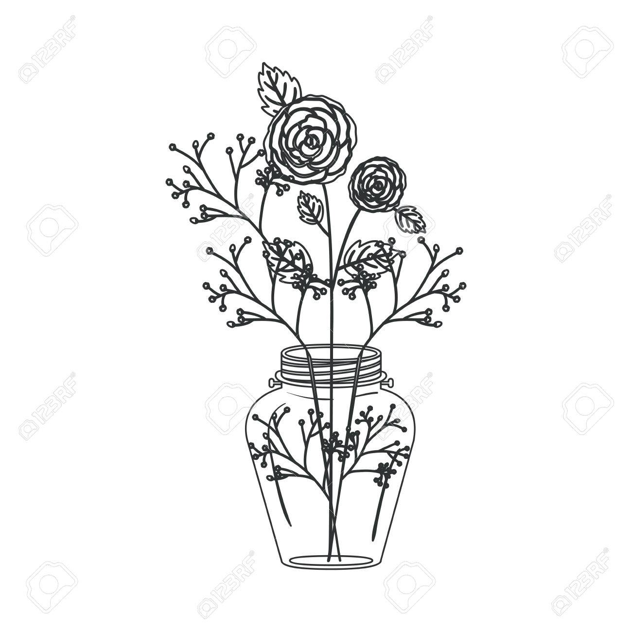 Mason jar and flowers clipart black and white picture royalty free library Flowers Inside Mason Jar Icon. Decoration Floral Nature And Pl ... picture royalty free library