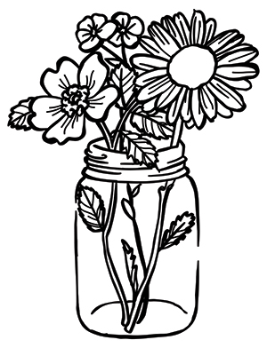 Mason jar and flowers clipart black and white picture transparent Blooming Mason Jar | Urban Threads: Unique and Awesome Embroidery ... picture transparent