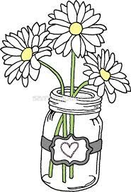 Mason jar and flowers clipart black and white clip art library library Image result for flowers clipart black and white | Bullet Journaling ... clip art library library