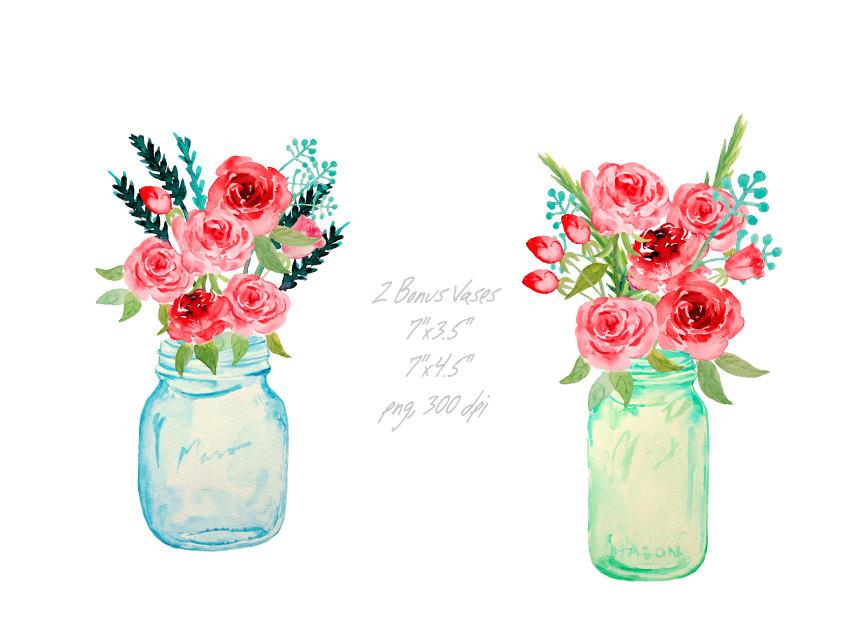 Mason jar clipart with flowers clipart library Watercolor mason jars and red roses printable, instant download clipart library