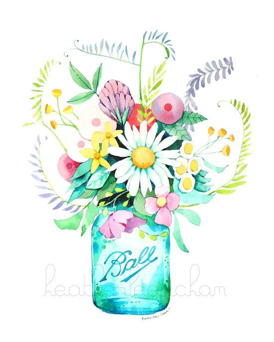 Mason jar clipart with flowers clip art freeuse Mason Jar With Flowers Clipart | Free download best Mason Jar With ... clip art freeuse
