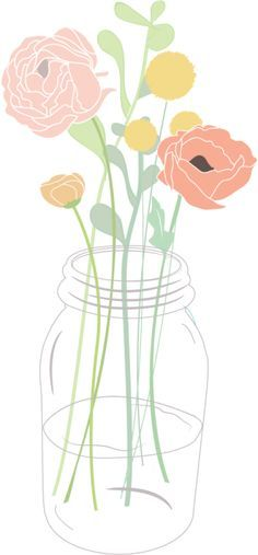 Mason jar clipart with flowers banner library Flower bouquet in a mason jar clipart rose ranunculus greenery ... banner library