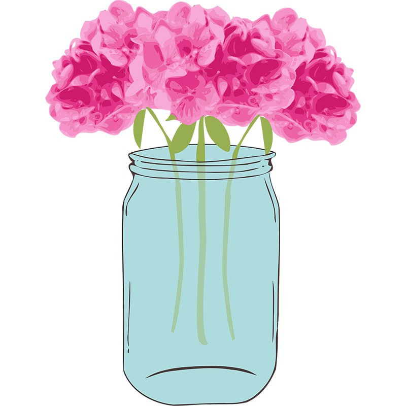 Mason jar clipart with flowers png freeuse download Floral Vector with Mason Jar Clip Art | Pixel Candy Paperie png freeuse download
