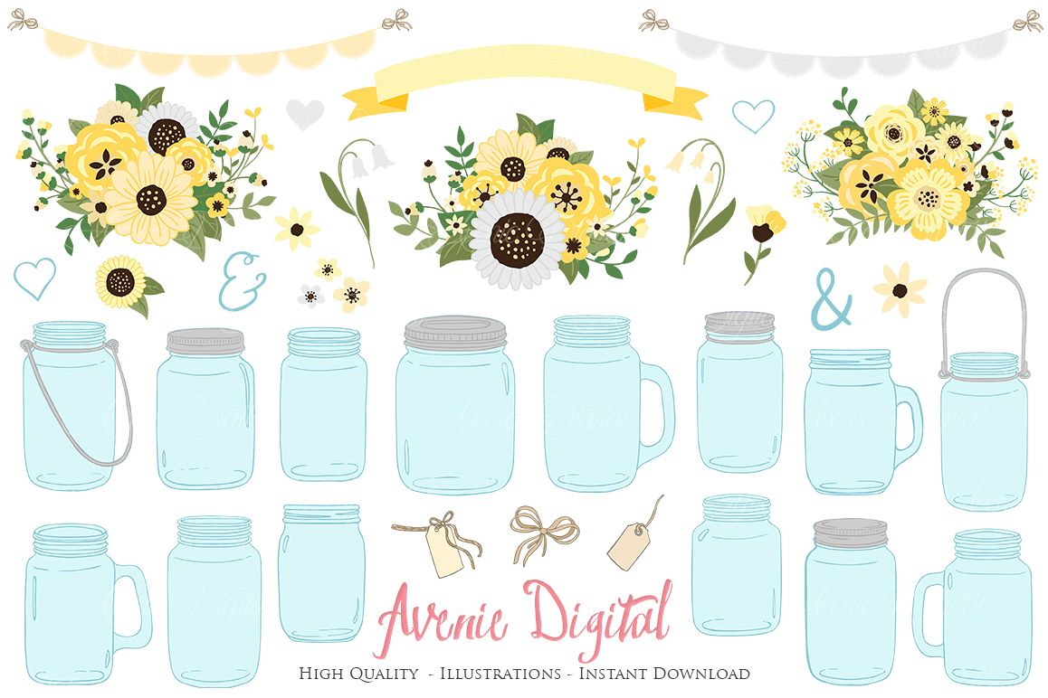 Mason jar clipart with flowers vector royalty free download Yellow and Grey Mason Jar Floral Wedding Clipart vector royalty free download