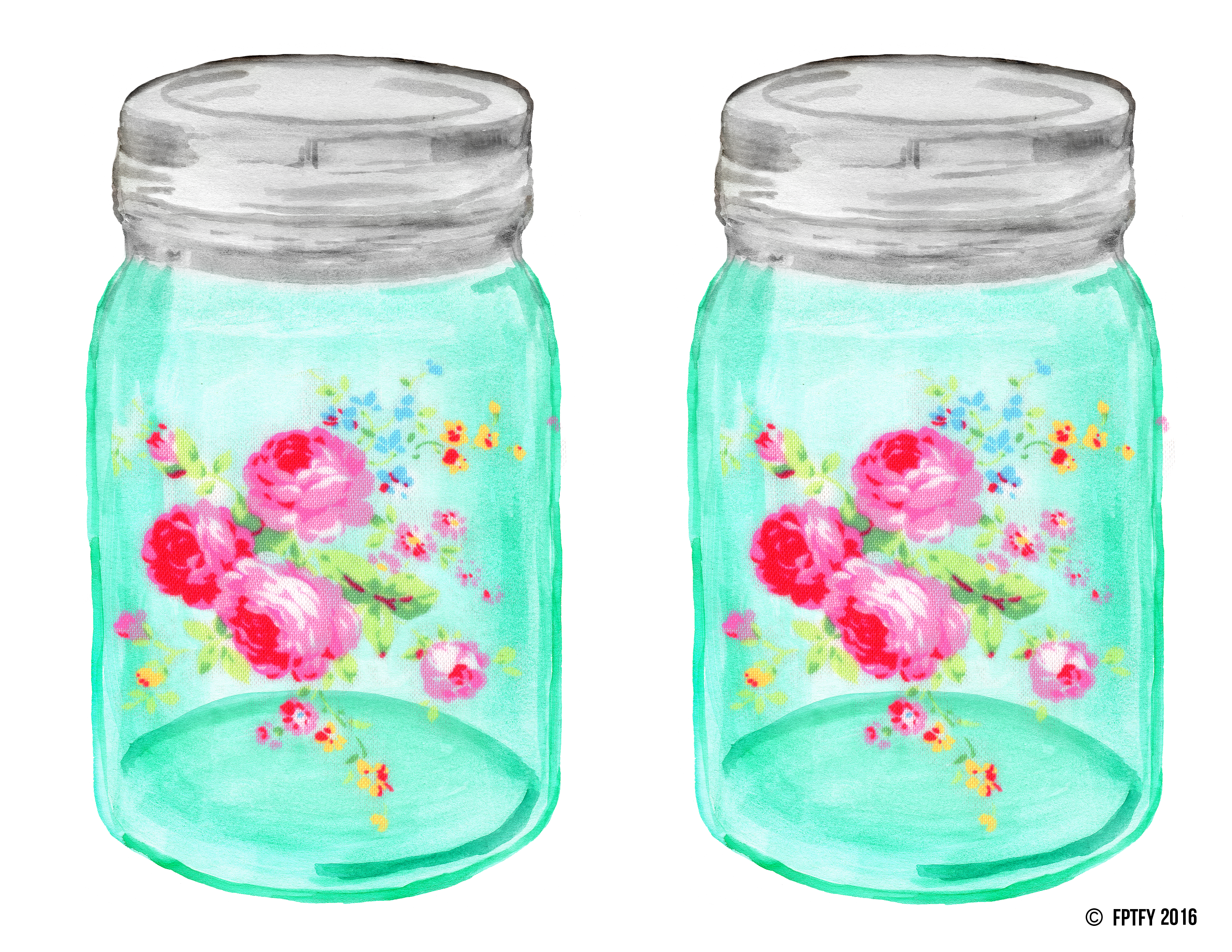 Mason jar with flower clipart clip free Shabby Chic Mason Ball Jar - Free Pretty Things For You clip free