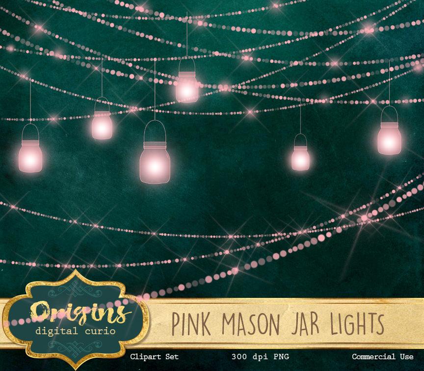 Mason jar lights clipart banner download Pink Mason Jar Lights Clipart banner download