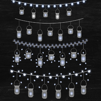 Mason jar lights clipart png freeuse library Mason Jar Lights, String Light Overlays, Bunting Lights Clipart, Mason Jar  Image png freeuse library