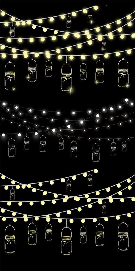 Mason jar lights clipart png black and white stock Mason Jars and String Lights Clipart #3, Fairy Lights Clip Art ... png black and white stock