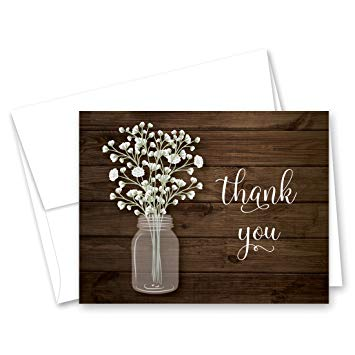 Mason jar with baby-s breath clipart clipart royalty free MyExpression.com 50 Baby Breath in Mason Jar Wedding Thank You Cards +  Envelopes clipart royalty free