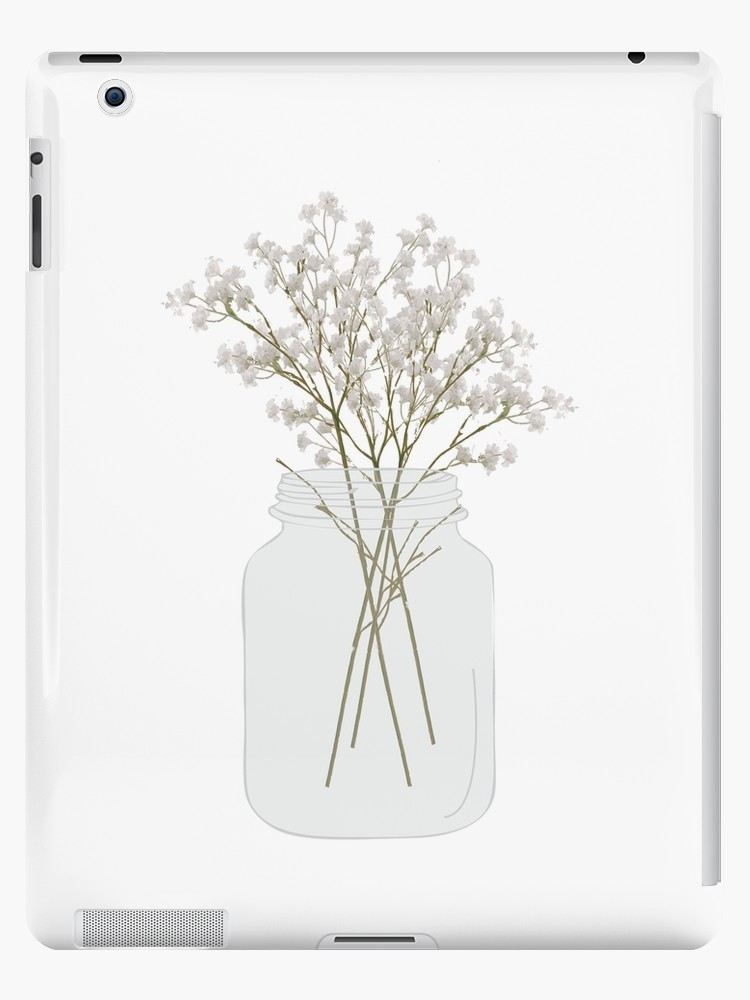 Mason jar with baby-s breath clipart clip royalty free stock \'Baby\'s Breath in a Mason Jar\' iPad Case/Skin by Designs111 clip royalty free stock