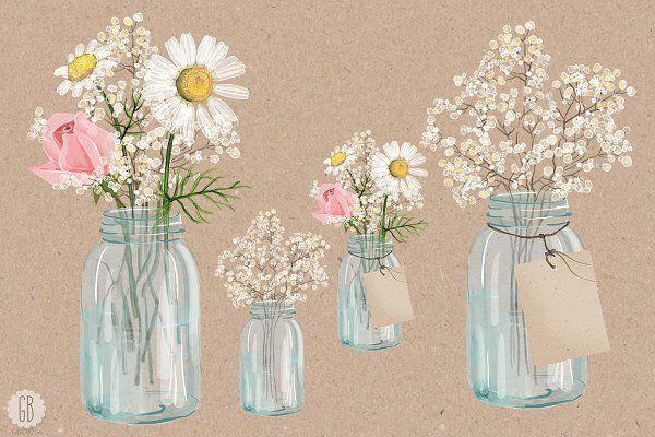 Mason jar with baby-s breath clipart jpg royalty free Watercolor chamomile baby breath jar - Illustrations | Watercolor ... jpg royalty free