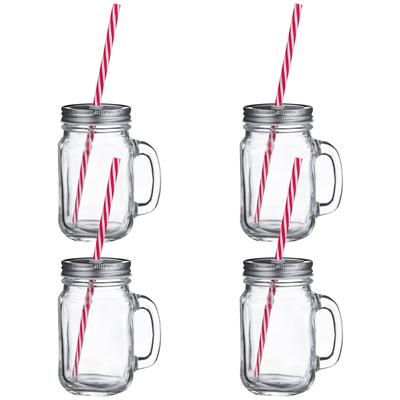 Mason jar with straw clipart clip art black and white Rink Drink Jam Jar Drinking Glasses with Lids and Straws - 450ml - Set of 4 clip art black and white