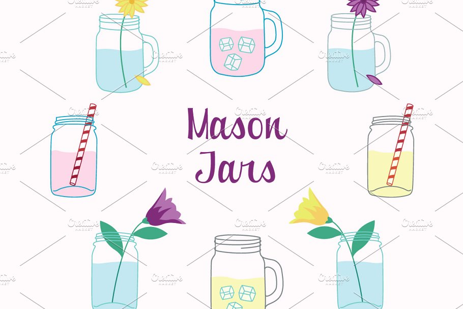Mason jar with straw clipart svg download Mason Jars Clipart Vector Set svg download