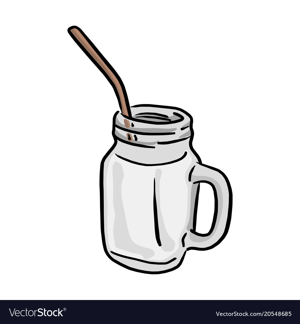 Mason jar with straw clipart clipart freeuse Glass of milk with straw sketch clipart freeuse