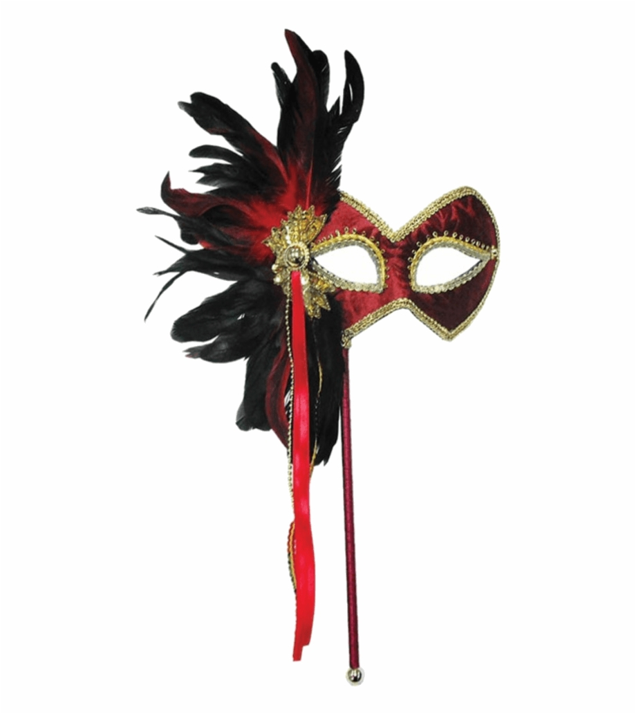 Masquerade mask clipart on stick with ribbon picture free download Red & Gold Masquerade Mask - Red And Gold Mask With Stick Free PNG ... picture free download